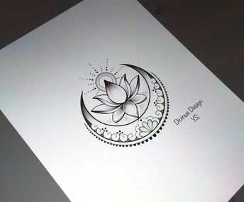 Lotus with Sun and Moon tattoo and Stencil - Instant Digital Download