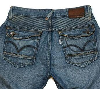 d55efe8c SilverTab Jeans 32 Slim Boot Distressed Flap Pockets Leather Trim Grunge  Levi's #SilverTab #BootCut