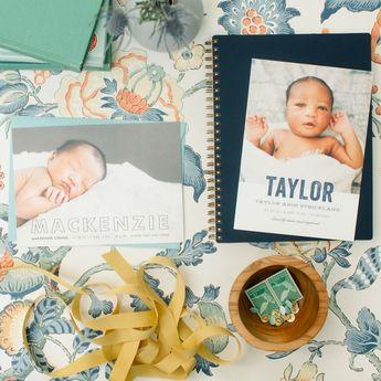An adorable way to say hello. Birth Announcement design by Sara Hicks Mallone. Snap by @lesleemitchell. Styling by @pencilandpaperco. Shop more baby and birth announcements on Minted.com