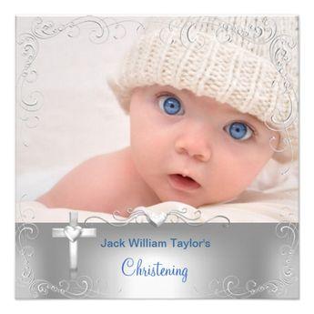 Baby Boy Baptism Christening Silver Cross Invitation | Zazzle.com