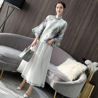 6713fa4fe Mandarin Sleeve Floral Chiffon Chinese Style Women's Coat