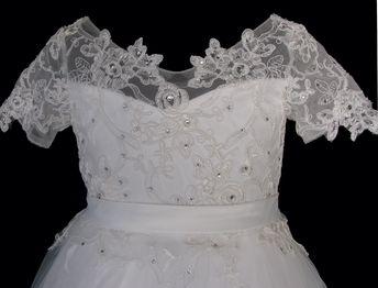 d9a8a7ff6bf Πανέμορφο Μακρύ Παιδικό Φόρεμα για Παρανυφάκι, Πάρτι από Τούλι, Οργαντζα  και Δάντελα σε Ιβουάρ