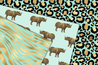 Mint and Gold Animal Print #animal#skin#African#papers