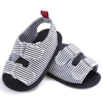 31b5273b1cfb Raise Young Summer Cotton Striped Baby Boy Sandals Soft Soles Non-slip  Toddler Boy Shoes