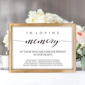 Printable In Loving Memory Wedding Sign   2 Sizes Wedding Reception Memorial Sign   Loved Ones Sign Instant Download   Bestseller Sign