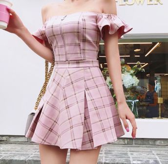 2 Piece Set - Top & Bottom 'Bahamas Pink Plaid Set' - Ruffled Plaid Top with Pleated Plaid Skirt