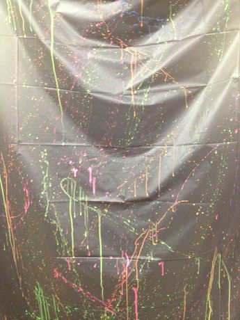 Glow in the dark party..take a black dollar store plastic table cloth & splatter with watered down black light reactive paint..hang around party..make sure you have a backlight...