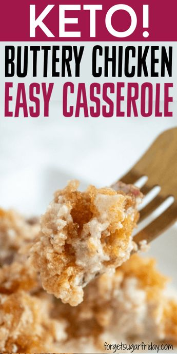 WOW, this keto casserole is amazing!! If you're looking for an easy-to-assemble keto casserole recipe that is packed with flavor, look no further than this super tasty Crusted Buttery Chicken Casserole. It contains only ONE gram of net carbs per serving and can be made in less than an hour. If you're looking for an easy keto dinner recipe, you are going to LOVE this low carb casserole recipe! #keto #ketodinner #casserole #ketorecipes