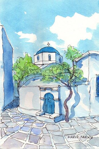 Paros Church Tree, Greece art print of original watercolor painting