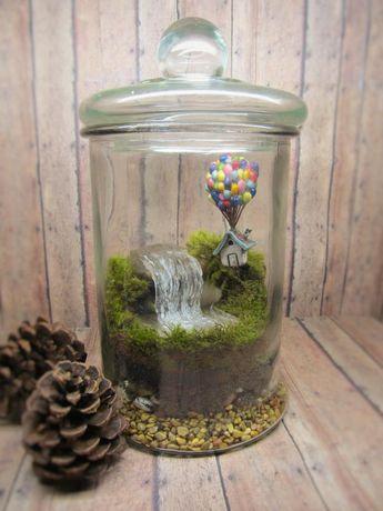 Up Up and Away Terrarium! Miniature UP inspired terrarium with raku fired House - Balloons - Waterfall - Handmade by Gypsy Raku