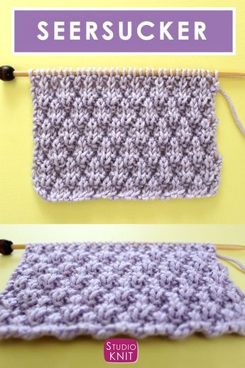 This pretty Seersucker Stitch Knitting Pattern creates textured rows of raised puckered diamonds with an easy 8-Row Repeat of knits and purls. Great for beginning knitters. #StudioKnit #knitstitchpattern #seersucker #stitchpattern