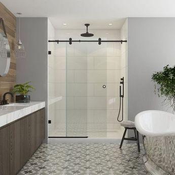 Contractors Wardrobe Model 7800 60 in. x 76 in. Frameless Sliding Shower Door in Bronze with Circular Thru-Glass Door Pull-78-6076BZCLR