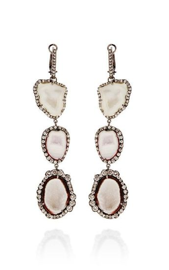 One Of A Kind Triple White Geode And Graduated To Irregular Diamond Lever Back Earrings by Kimberly McDonald for Preorder on Moda Operandi