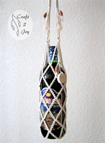 This bag is an excellent gift wrapping for a bottle of wine, book, candle, etc. In addition, it is also a gift. You can use it later. For example, as bottle holder or plant hanger for a small vase or pot. A piece of branch is attached to bag. You can use it like gift tag. On the tag field