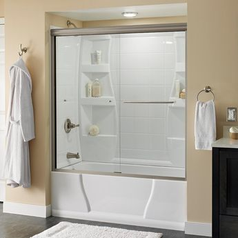 Delta Simplicity 60 in. x 58-1/8 in. Semi-Frameless Traditional Sliding Bathtub Door in Nickel with Clear Glass-2435517