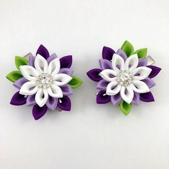 White Purple flower hair clip, Japanese flower,  Water lily flower hair clip, Holiday gift for girl