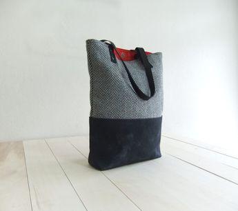 Black Waxed Canvas Tote Bag Black Tweed Black Leather Straps Handmade  Shoulder Tote Bag Red Lining b5b35fab66