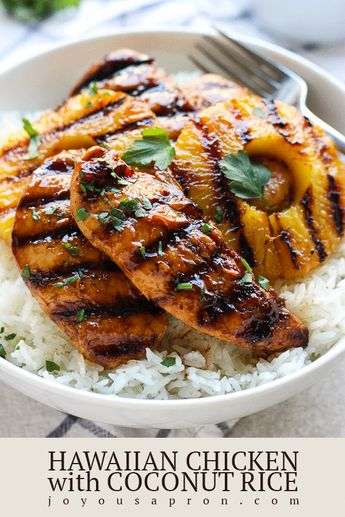 Hawaiian Chicken with Coconut Rice - Easy and delicious tropical-inspired rice bowl dinner meal! Grilled or pan-fried chicken tenders marinated in soy and pineapple juice, combined with coconut rice and grilled fresh pineapple. Perfect for leftovers or meal prep. #chicken #tenders #pineapple #soysauce #coconutrice #coconut #tropical #ricebowl #dinner #easydinner #hawaiianchicken #grilling #recipe #joyousapron #healthydinner