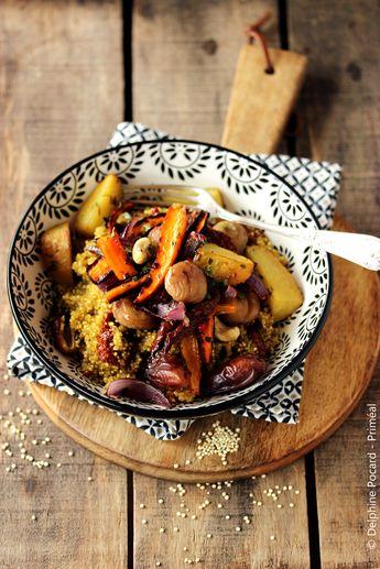 Recette végétarienne - Le quinoa se glisse ici dans un plat complet de type tajine composé de légumes, de marrons, de noix de cajou. La douceur est apportée par les dattes et le