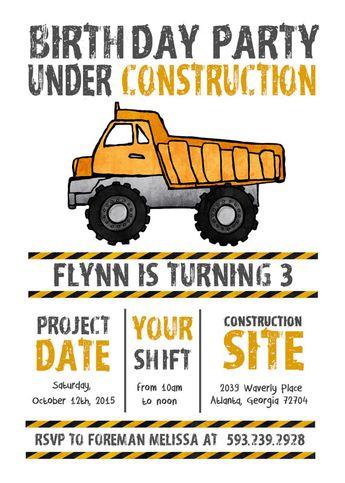 construction birthday invitation yellow dump truck