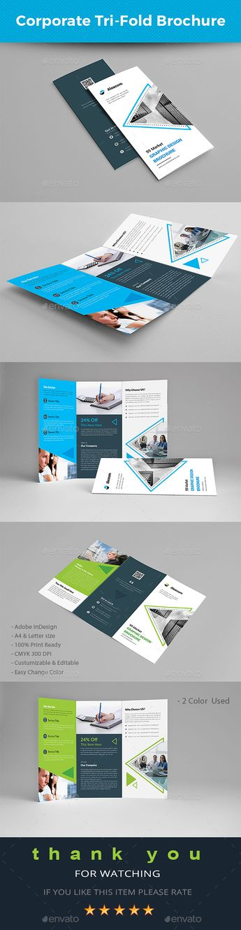 corporate tri fold brochure template indesign indd download