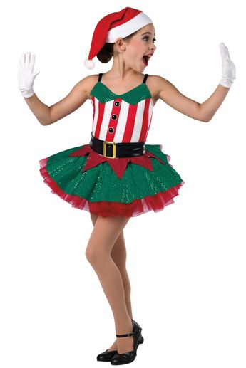 714804d13ebd Style# 18474 SANTA'S LITTLE HELPER Red/white striped spandex leotard with  kelly sequined spandex