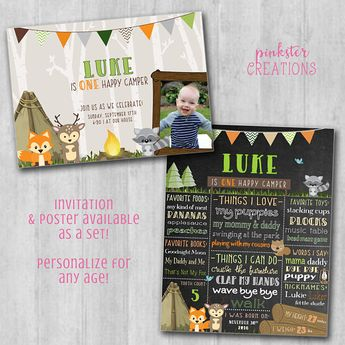 Product Happy Camper Birthday Invitation And Stats Poster Photo Boy Camping Theme