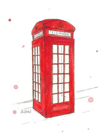 London Phone Booth - Print from original watercolor illustration by Lexi Rajkowski, London, telephone booth, London telephone booth, watercolor, art print, wall art, home decor, bedroom decor, vanity decor, office decor, red, pen