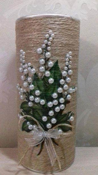 Peach/Coral Tulle Corset Cylinder Vase - Wedding Centerpiece