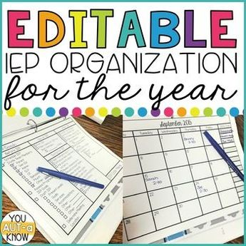 Ultimate IEP Organization Kit; EDITABLE FORMS INCLUDED