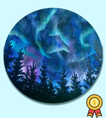 Northern Lights, Northern lights art, Galaxy painting, Northern lights painting, Aurora Borealis, Night Sky art, Nebula painting, Nebula - #galaxy #lights #northern #painting