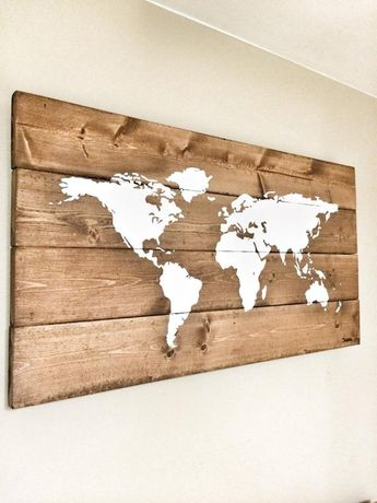 Office World Map, Office Wall Decor, Wood World Map, Stock Exchange Market, Business Art, Art for Office, Push Pin Map, Rustic Home Decor