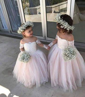 Adorable Flower Girl Dresses For Weddings , Little Girls Off the Shoulder Wedding Dress