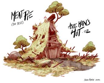 "Meatpie/ Axe man's Hut /2014/Nickelodeon animationSome  environments research for the Nickelodeon short ""Meatpie vs the dark ages"" (created and directed by Gabe Swarr)."