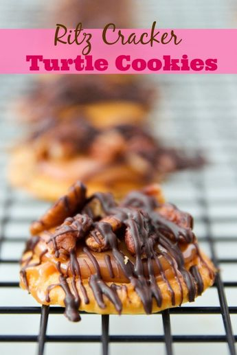 Ritz Cracker Turtle Cookies -- sweet, salty and no bake. Perfect holiday cookie. We love these!