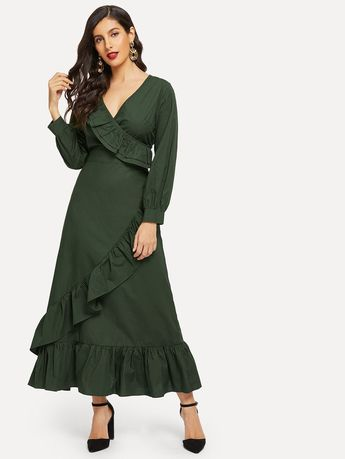 60708efccbfd Surplice Wrap Ruffle Hem Longline Dress