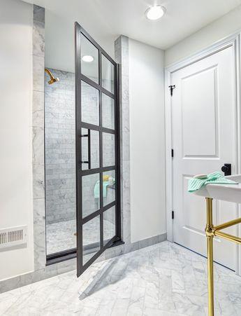 BLACK GRIDSCAPE® SHOWER DOOR - TRUE DIVIDED LIGHT WWW.COASTALSHOWERDOORS.COM | DESIGN TO DEFINE