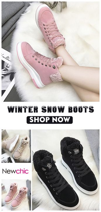 【55% off】Women Winter Warm Suede Fur Plush Lace Up Flat Ankle Snow Boots.#boots #womenshoes #snowboot