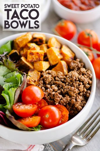 Sweet Potato Taco Bowls are an easy and healthy 30 minute dinner recipe perfect for the family. This grain free bowl has just 5 simple ingredients and is packed with familiar taco flavors. It's perfect for meal prep lunches!