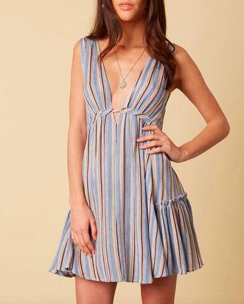cotton candy la - on the stripe mini dress - blue