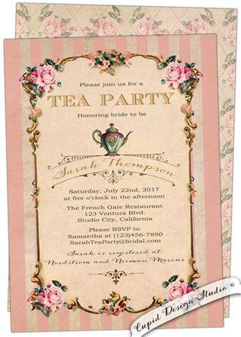 printable bridal shower tea party invitation