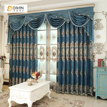 DIHIN HOME Dark Blue Luxury Embroidered Valance ,Blackout Curtains Grommet Window Curtain for Living Room ,52x84-inch,1 Panel