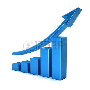 3d business growth bar graph curve
