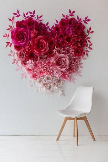 Paper Flowers Heart Wall Art - Valentine's Paper Flower Heart Decor - St.Valentine's Decor