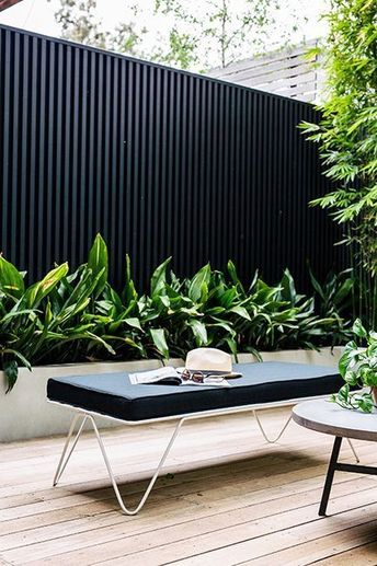 Black corrugated metal fencing in a contemporary garden setting with lush architectural foliage for a simplistic garden scheme #gardening #gardendesign #blackfence #minimalist #garden