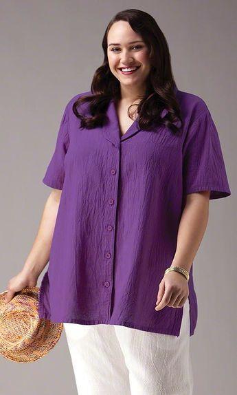 Crinkle cotton blouse