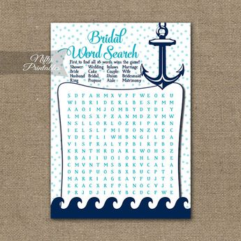 nautical word search bridal shower game aqua nautical bridal shower printable wedding shower games