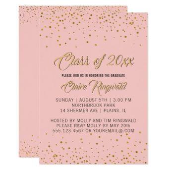 pink marble rose glitter photo graduation party invitation