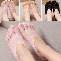 Fashion Ladies Cotton Blend Lace Antiskid Invisible Low Cut Socks Toe Ankle Sock