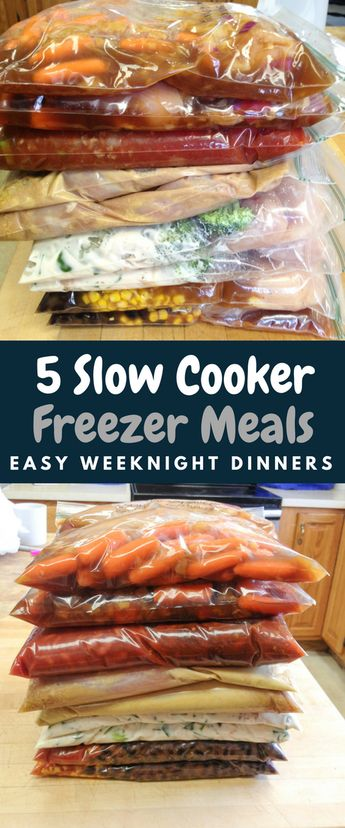 Slow cooker freezer meals for easy weeknight dinners. #crockpot #chicken #easyrecipes